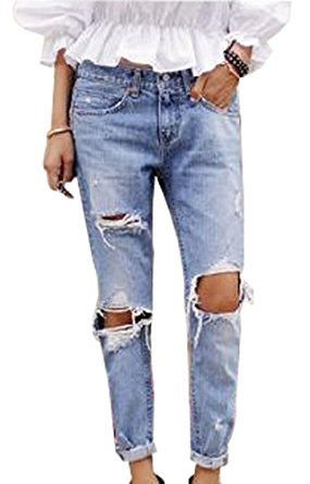 ripped jeans for women women vintage sexy cut out destroyed holes knee ripped jeans denim trousers isojbec