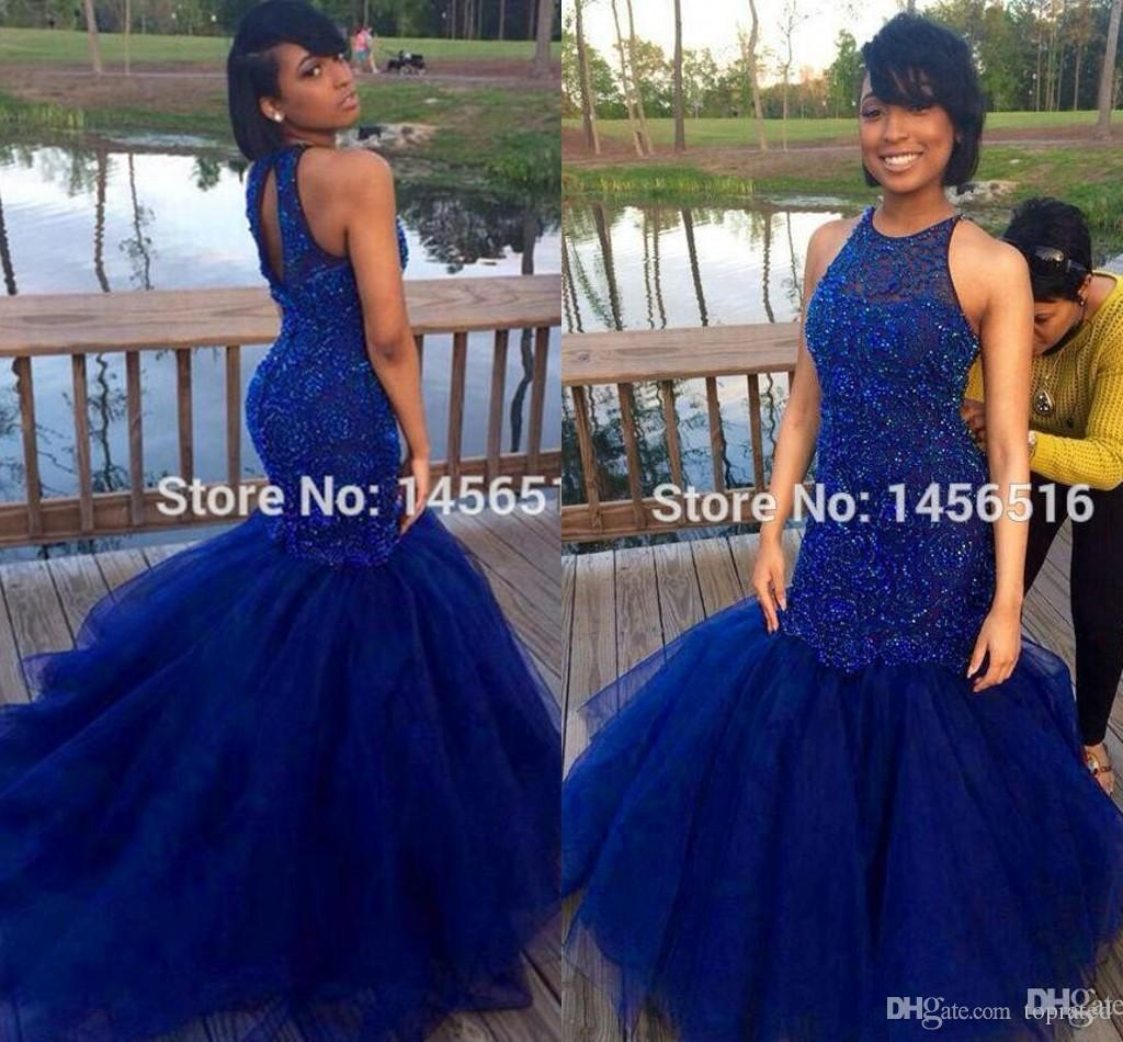 royal blue prom dresses 2016 sexy back mermaid hard beadings evening party ldqylcx