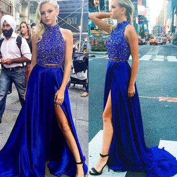 royal blue prom dresses 49%off long floral blue a-line high neck sleeveless zipper beading prom  dresses akslycv