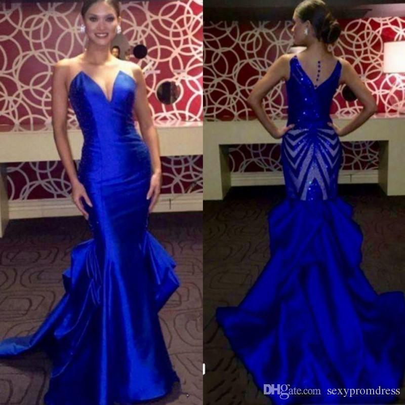 royal blue prom dresses elegant royal blue evening gowns sheer neck sleeveless satin mermaid prom  dresses zosrhbx