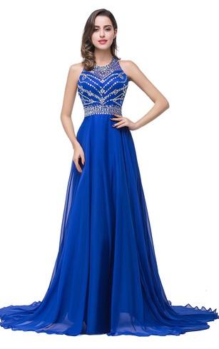 royal blue prom dresses newest royal blue chiffon 2016 prom dress a-line beadings sweep train ... hoapaja