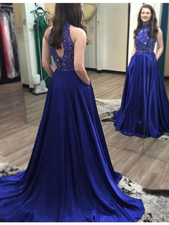 royal blue prom dresses stunning high neck open back long royal blue prom dress with beading pockets xsfjdzi