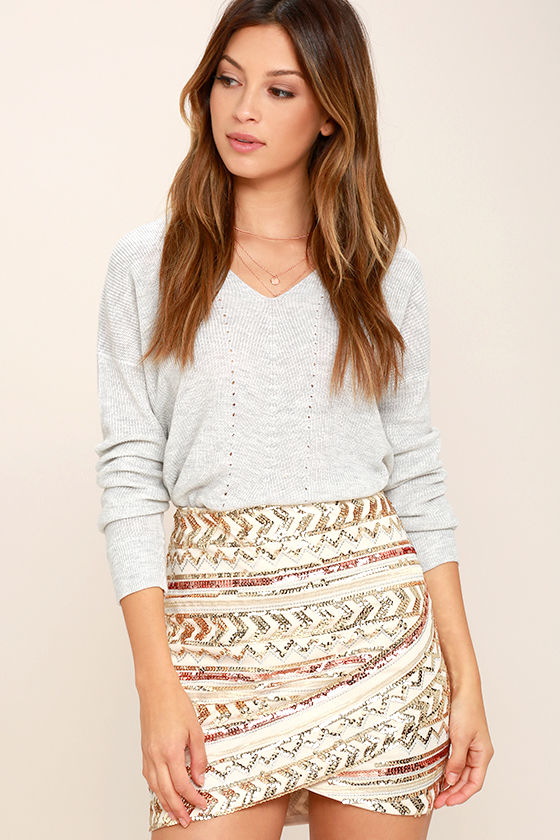 sexy cream skirt - sequin skirt - mini skirt - embroidered skirt -$55.00 dxtgbzz