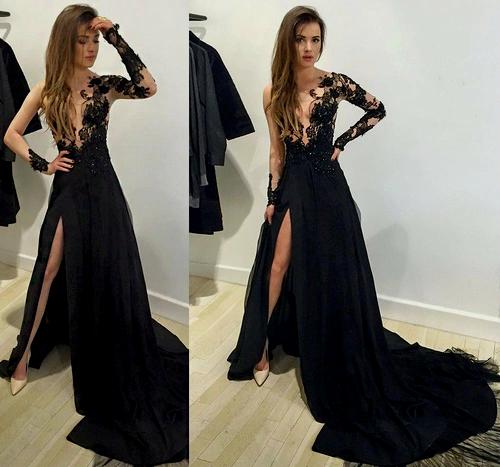 sexy prom dress,leg slit prom dress, black prom dress, long prom dress ... vuxzoue