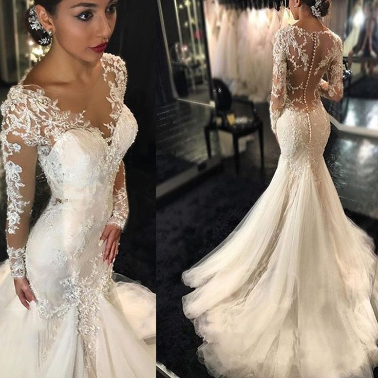 sexy wedding dresses luxury see through long sleeve sexy mermaid lace tulle wedding dresses,  wd0198 daraoco