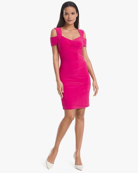 sheath dress cold-shoulder instantly slimming dress drjycsb