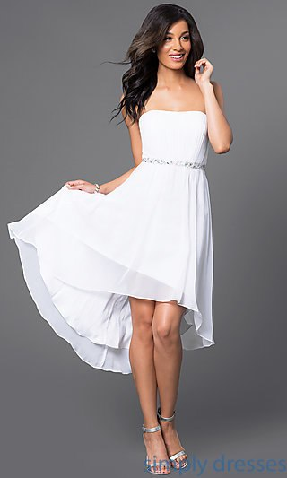 short white dresses beaded strapless high low party dress . crkgqlc