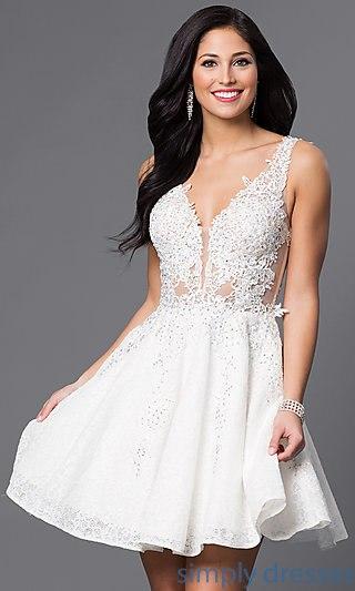 short white dresses short v-neck lace-applique homecoming party dress . mtwoqxz