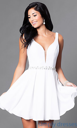 short white dresses wedding-guest short party dress with jeweled waist . rsxdkvw