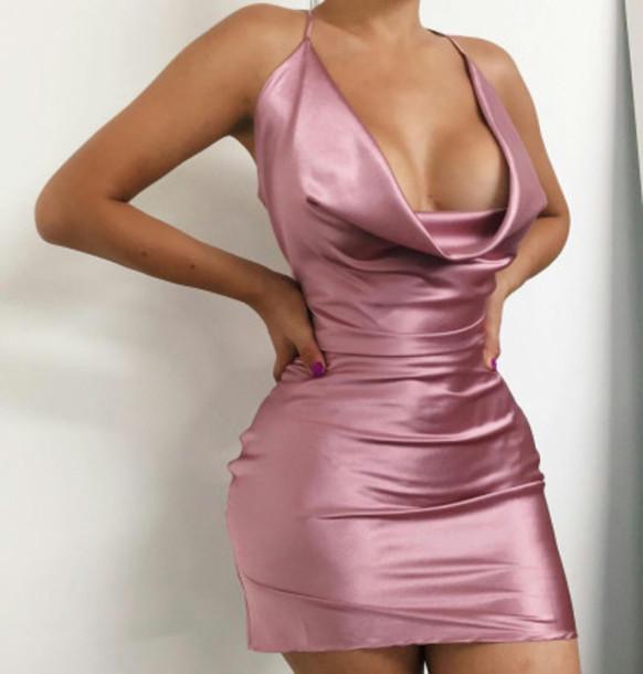 silk dresses dress clothes silk shiny pink bodycon bodycon dress tight dresses low  neckline nkfiwqo