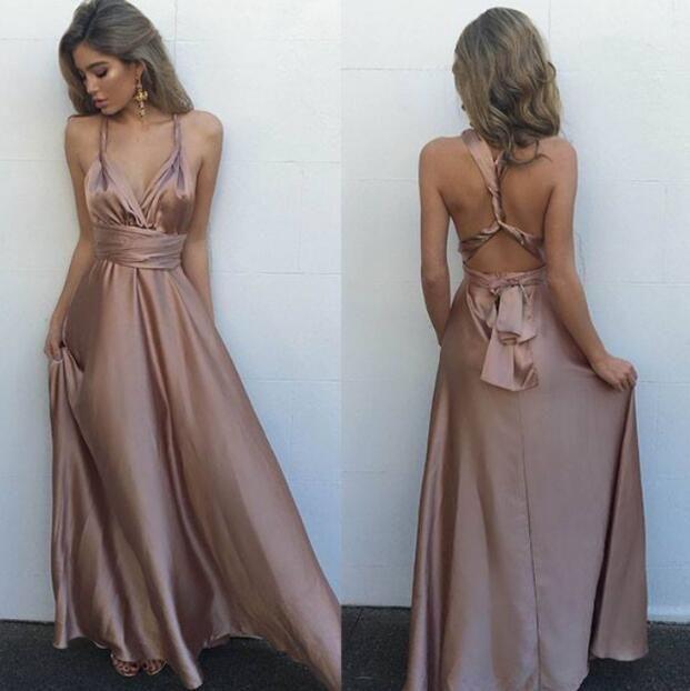 silk dresses gorgeous silk satin prom dress,sleeveless prom dresses,long evening dress,sexy  v kbsaiyl