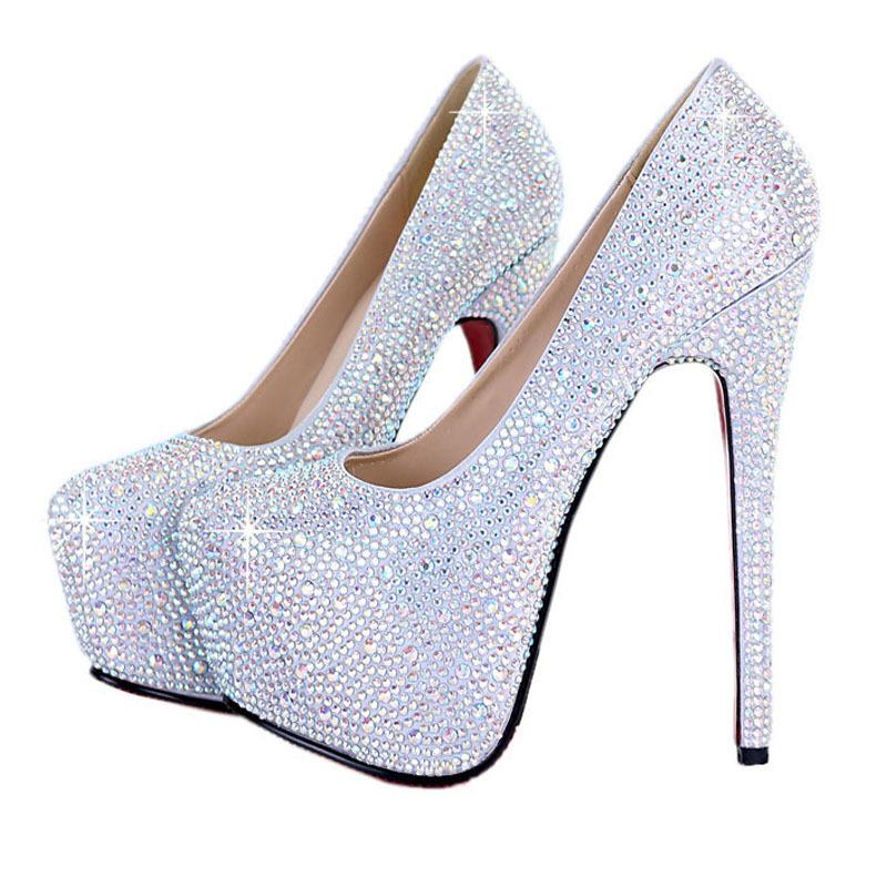 silver prom shoes online shop free shipping silver rhinestone pumps fashion red bottom sexy  prom nticltd