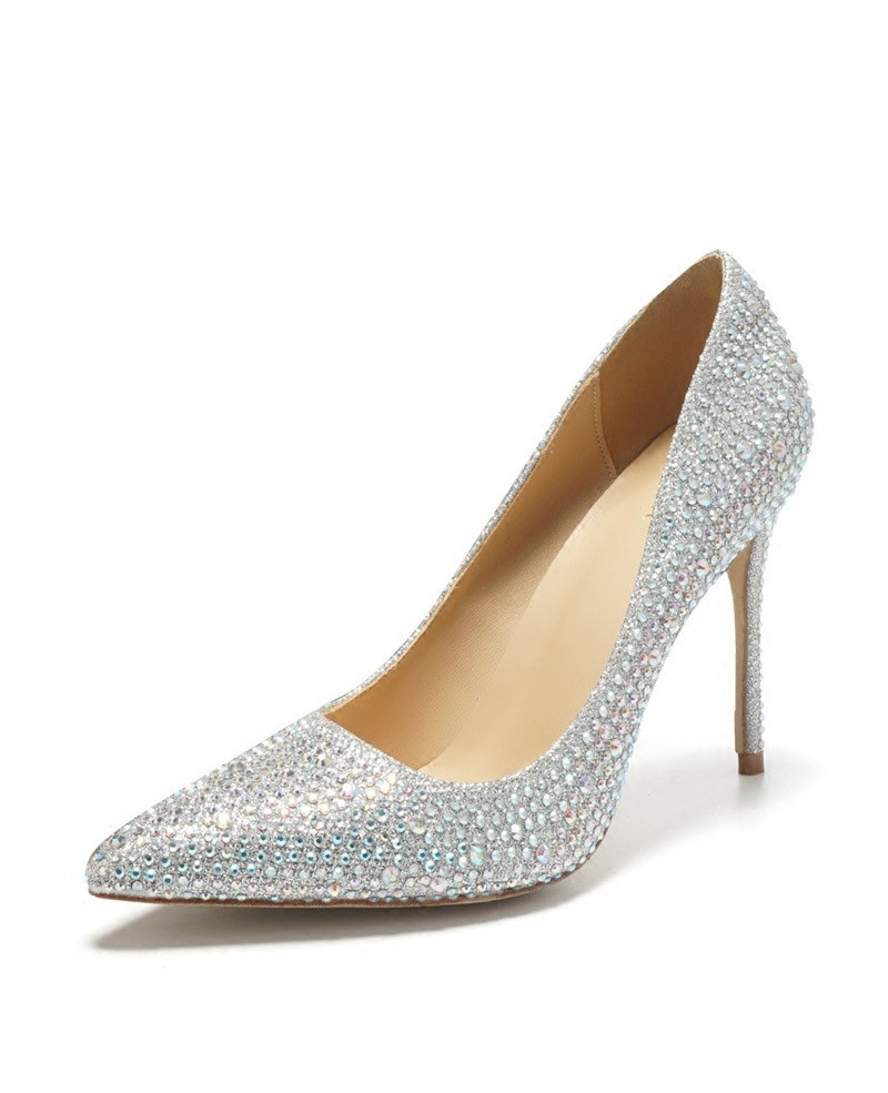 silver prom shoes pointed toe silver bling prom shoes high heels for girls 2018 ... mgzdnys
