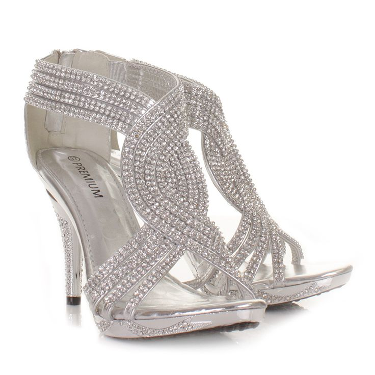 silver prom shoes silver womens ladies diamante wedding high heel prom shoes sandals size 3-8 sqpteln
