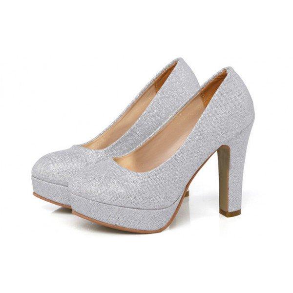 silver sparkly heels block heel pumps with platform image 1 ... wmtkydy