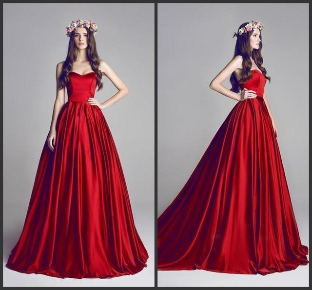 simple dresses 2017 simple fashion red burgundy prom dresses bohemian sweetheart satin  sweep train bimgjzf