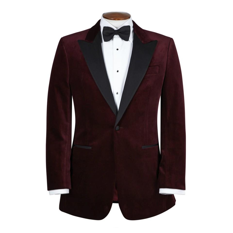 smoking jacket single-breasted smoking jackets, with peak lapel, burgundy nulflrt