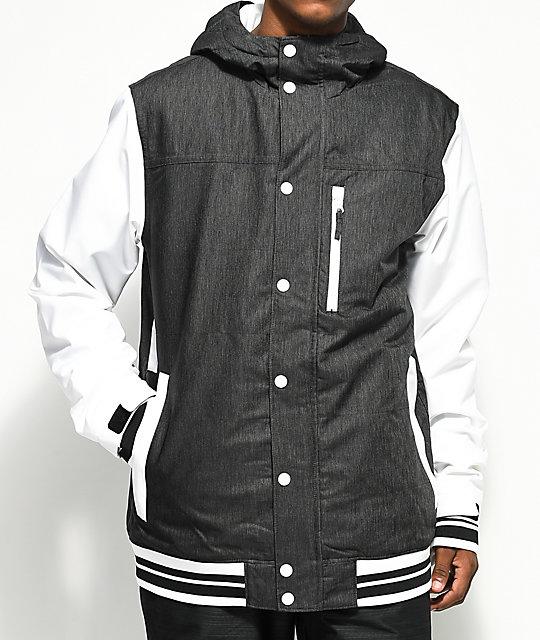 snowboarding jacket aperture outlaw varsity black u0026 white 10k snowboard jacket tkllmbs