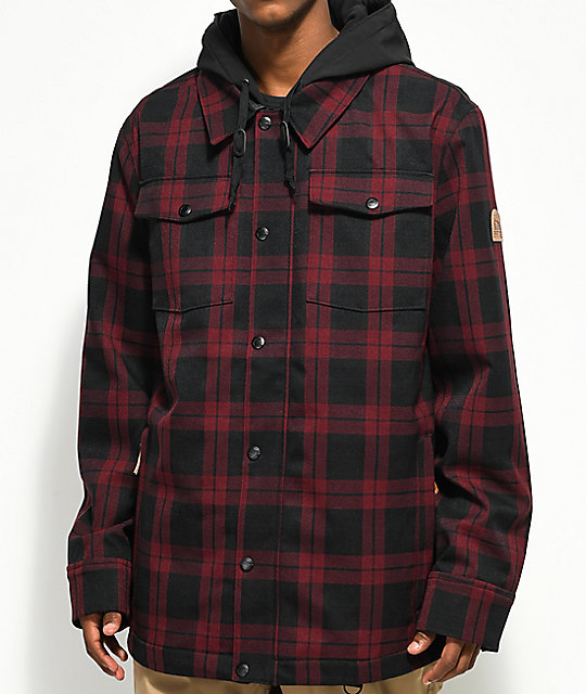 snowboarding jacket empyre traversed black u0026 red plaid 10k snowboard jacket gmhbzkh