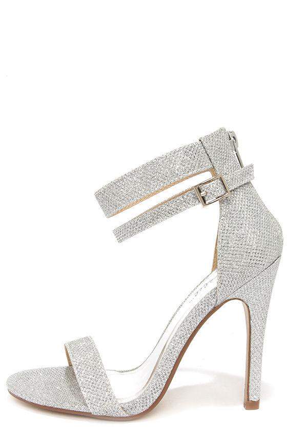 sparkly heels pretty glitter heels - silver heels - ankle strap heels - $29.00 wzojpke
