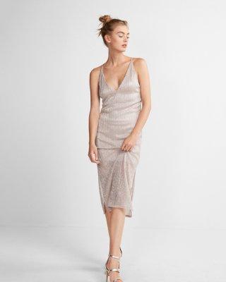 sparkly pleated deep v-neck sheath dress | express dmjaxry