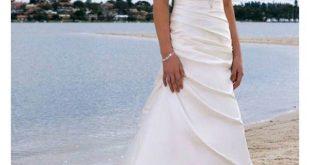 strapless wedding dresses a-line/princess sleeveless satin chapel train wedding dresses, strapless  beading ruffles lace dlsmryd