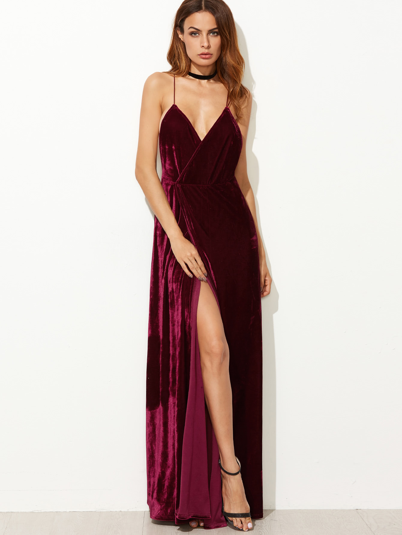 strappy backless wrap velvet dress -shein(sheinside) ksitnxr
