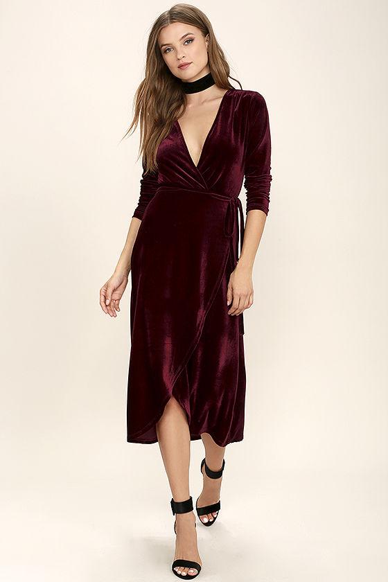 stunning burgundy dress - velvet dress - wrap dress - midi dress - pjiyjyi