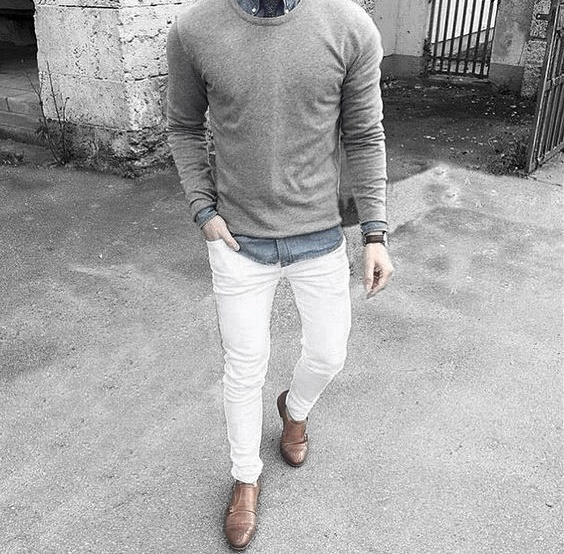 styles what to wear with mens white jeans outfits styles grey sweater blue hrgzsny