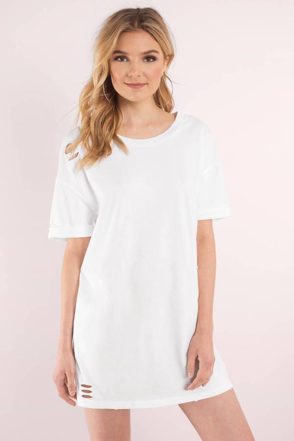 t shirt dress ... bay area white distressed t-shirt dress ... ajwtrev