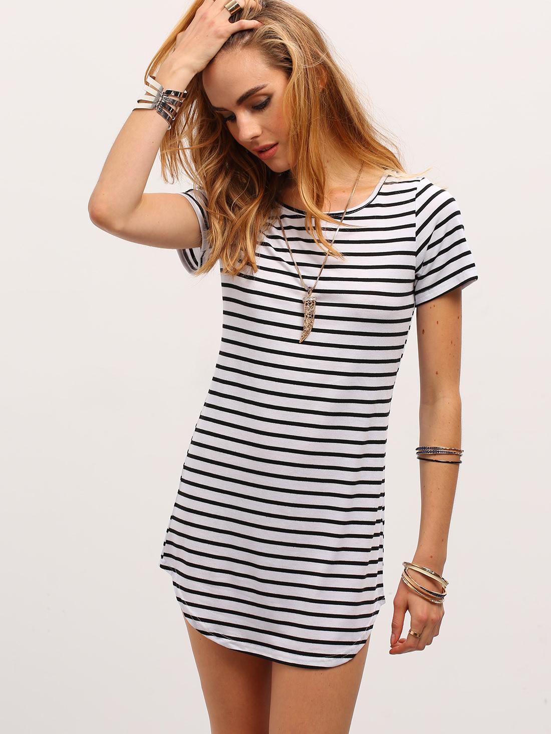 t shirt dress contrast striped curved hem t-shirt dress -shein(sheinside) oumkxon