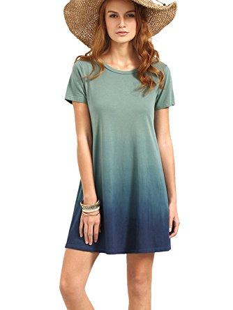 t shirt dress romwe womenu0027s tunic swing t-shirt dress short sleeve tie dye ombre dress (xx rykkshu