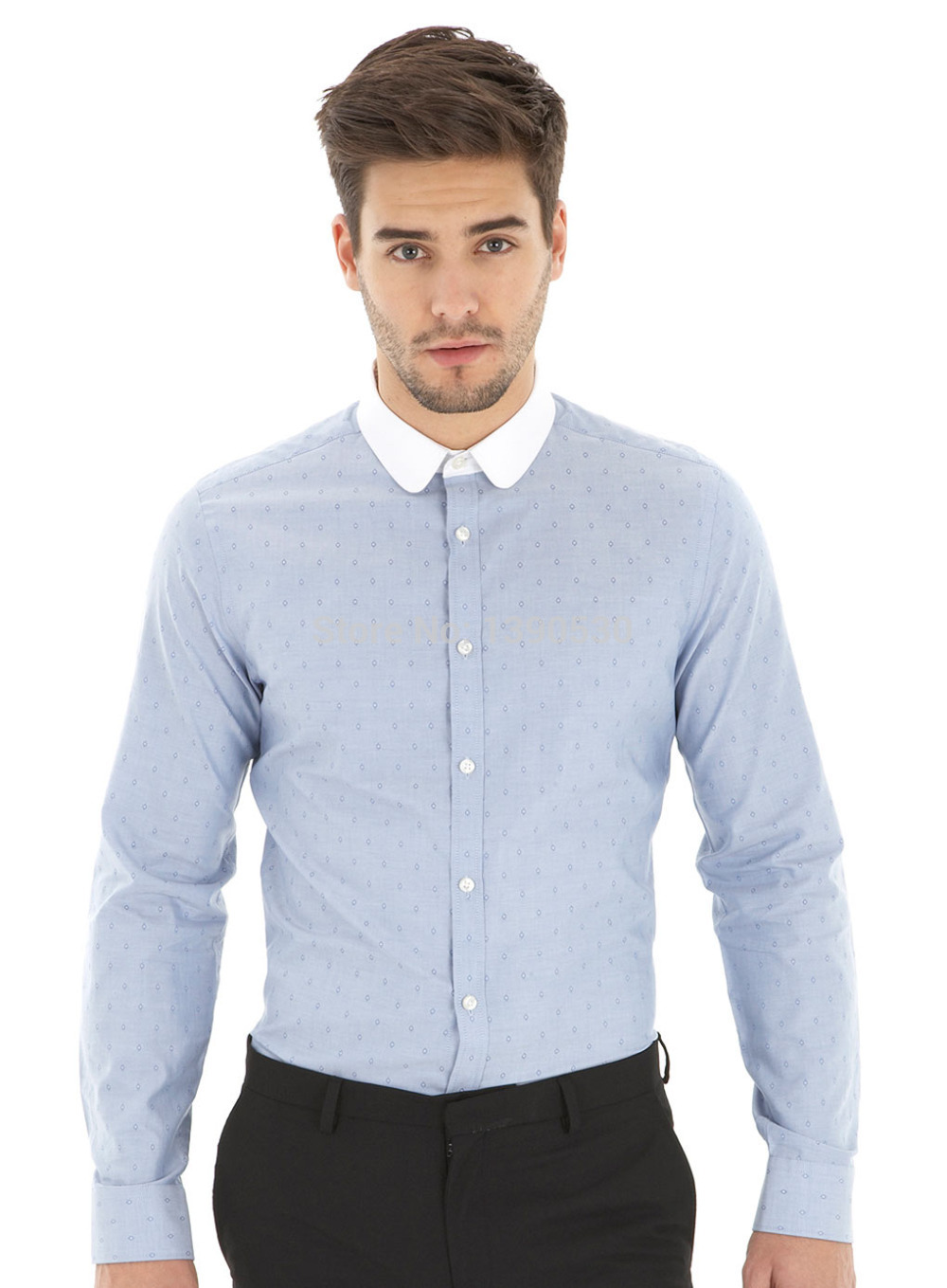 tailored shirts new design 100% cotton blue dot with white contrast round collar tailored wdoleqi