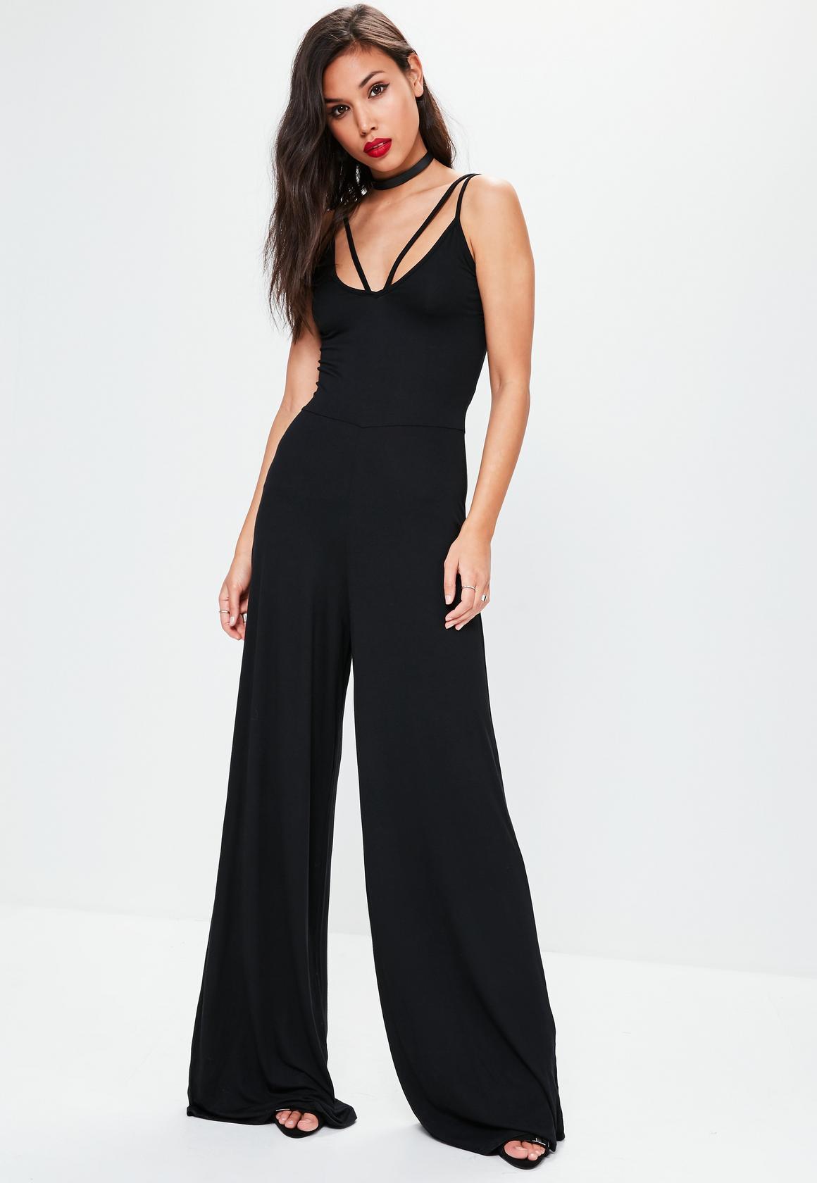 tall black harness wide leg jumpsuit eieflne