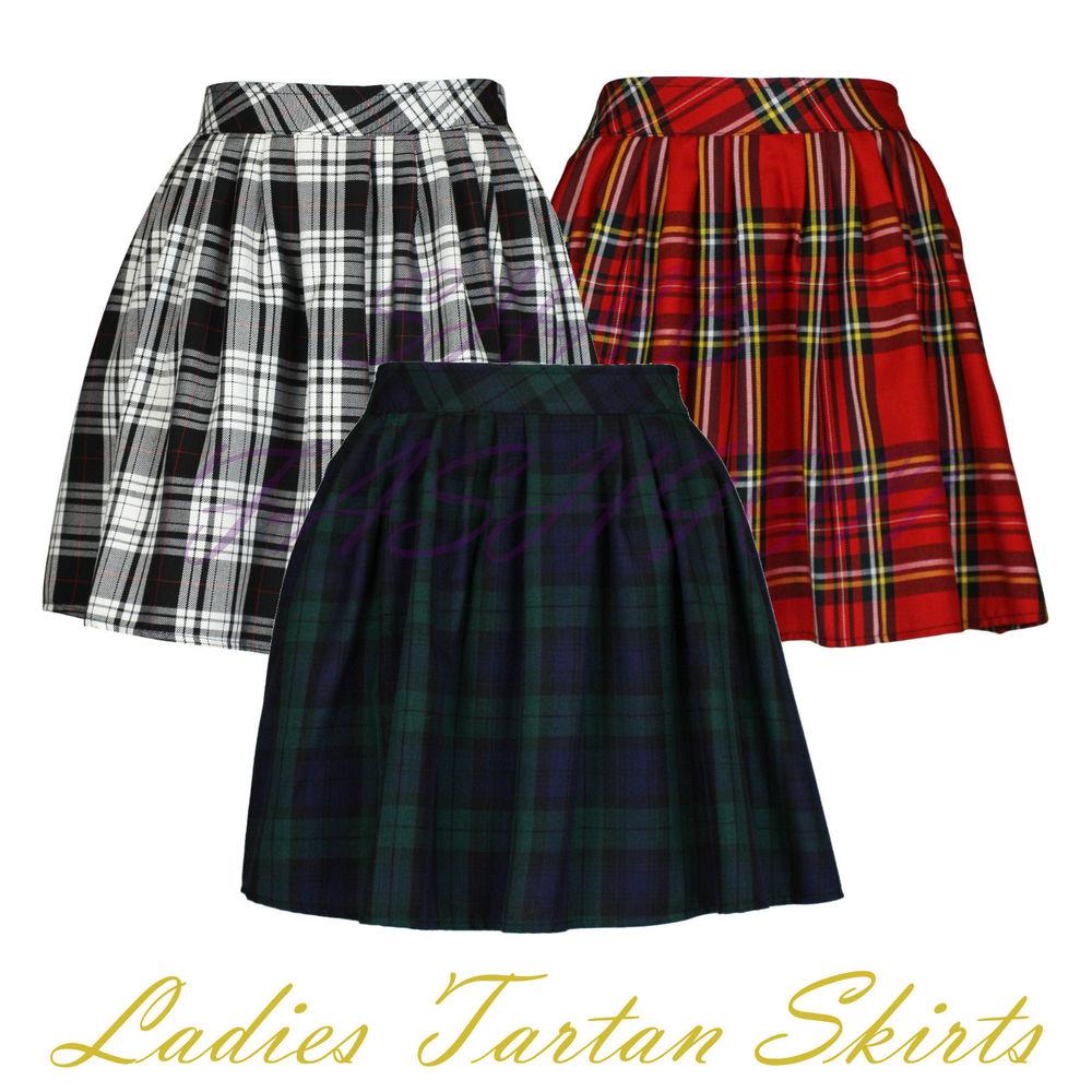 tartan skirt ladies womens elasticated waist tartan skater skirt uk size 6-14 | ebay ckwqzwr