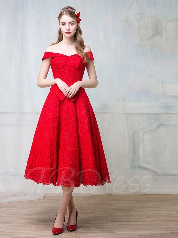 tea length dresses ... a-line off-the-shoulder tea-length lace cocktail dress ... lknqpzn