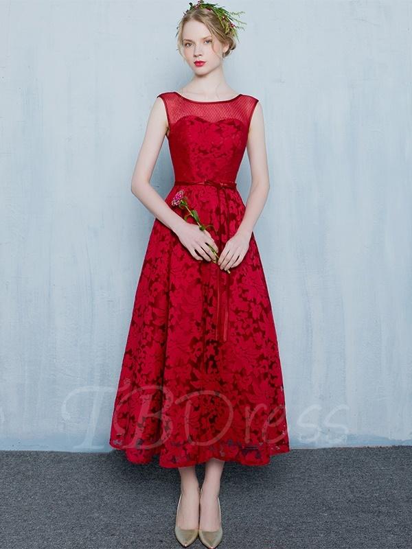 tea length dresses a-line scoop bowknot lace sashes tea-length evening dress ... bqnoumr
