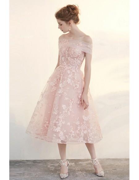 tea length dresses grace love beautiful pink applique lace tea length tulle formal dress ztwynjm