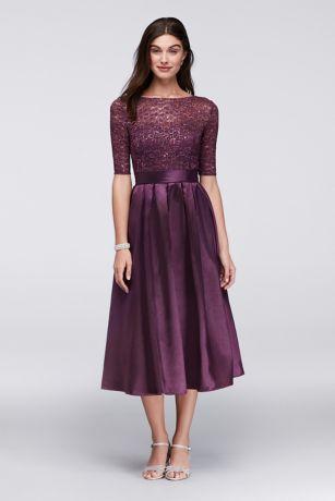 tea length dresses short ballgown elbow sleeves cocktail and party dress - davidu0027s bridal obvkfnv
