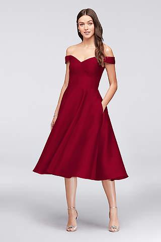 tea length dresses tea length a-line off the shoulder dress - davidu0027s bridal uvmvhkv