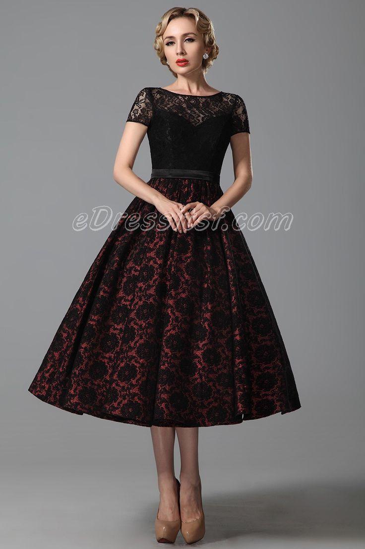 tea length dresses tea party outfits | ... short lace sleeves tea length cocktail dress party zhrygmi