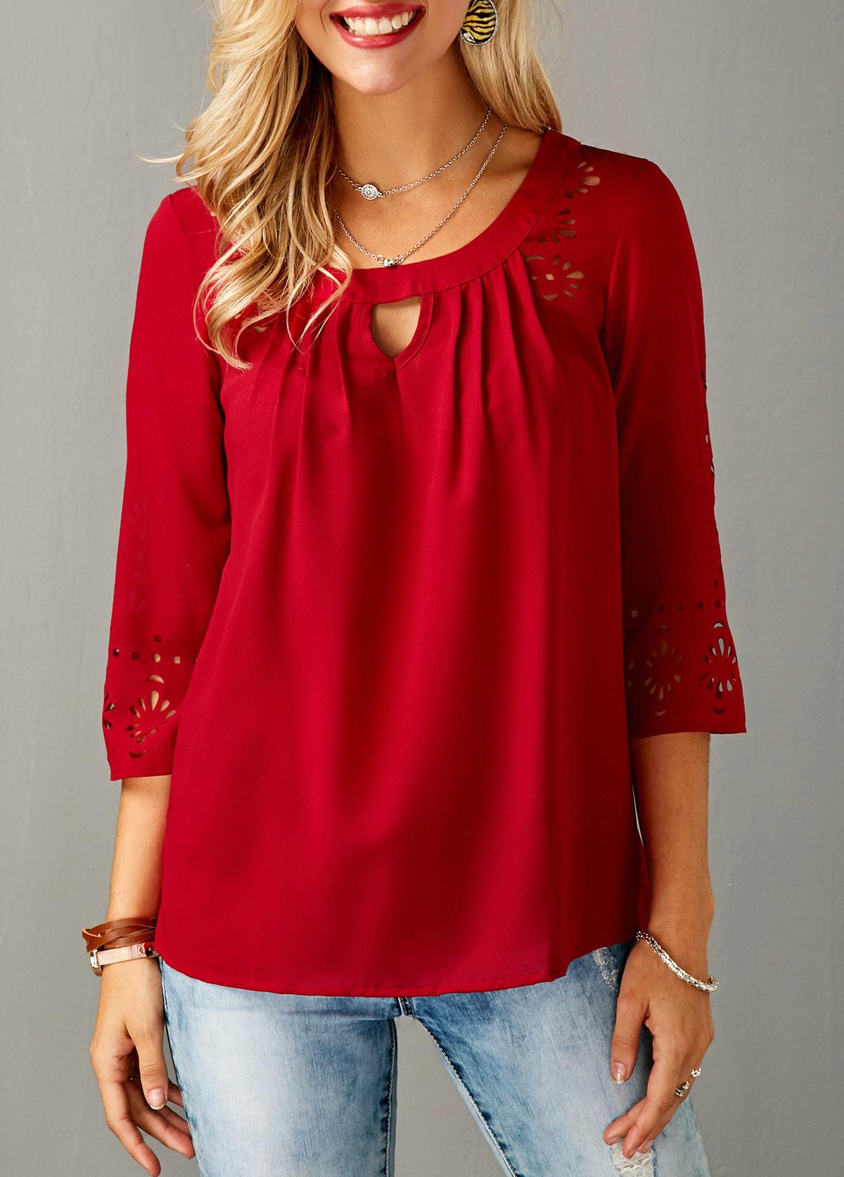 three quarter sleeve laser cut out red blouse yusyuxl
