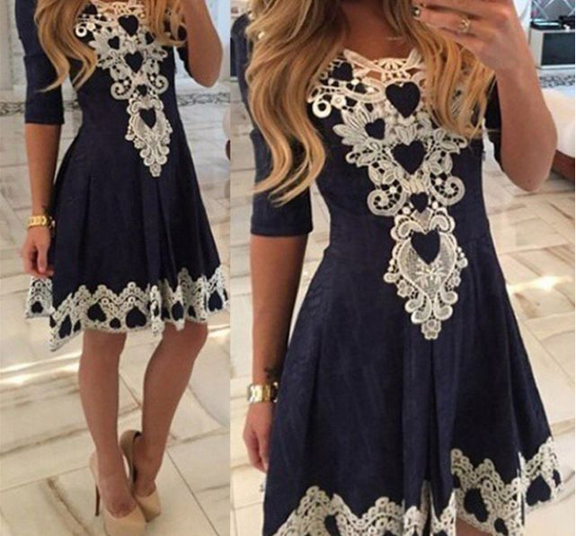 trendy dresses cute trendy tribal lace embroidered three fourth sleeve pleated mini skater  dress qmubgmi