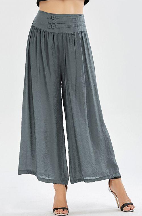 trousers for women high waisted button design wide leg pants wchfoak