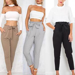 trousers for women image is loading women-ol-pencil-trousers-skinny-stretch-slim-high- szekrvr