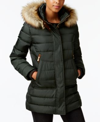 vince camuto faux-fur-trim hooded puffer coat youulpl