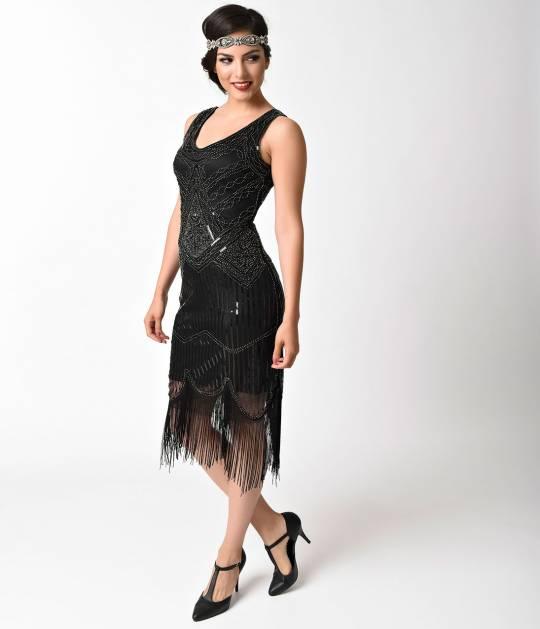 vintage style dresses 1920s vintage style black u0026 silver beaded sleeveless fringe flapper hwvpofx