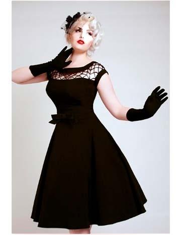 vintage style dresses 50u0027s style black fishnet detail tea length swing dress zcpjtez
