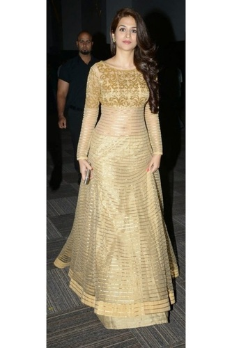 wedding and sagan cotton, net party wear gown- designer golden beauty ioosbmj