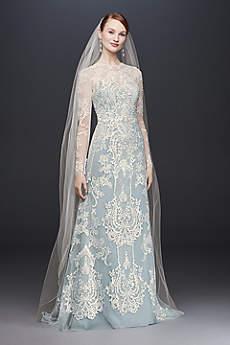 wedding dresses with sleeves long sheath formal wedding dress - oleg cassini jqeourl